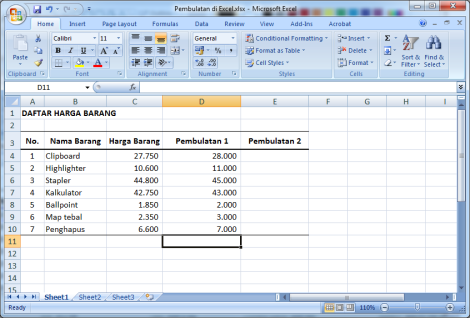 Gambar 3. Hasil pembulatan kelipatan ribuan menggunakan fungsi ROUNDUP.