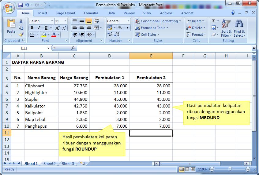 Pembulatan Angka Ribuan di Excel | Deslisumatran