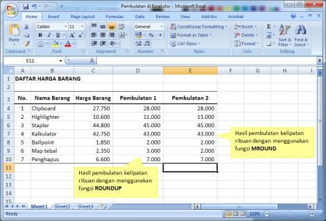 Gambar 5. Hasil pembulatan kelipatan ribuan menggunakan formula MROUND.